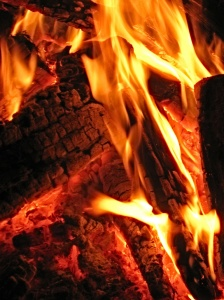 Closeup of campfire.